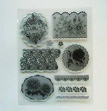 Pomôcky/Nástroje - Silikónové razítka, pečiatky - 14x18 cm -  krajka, čipka, ruža - 8931678_