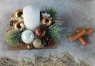 Dekorácie - hnedý štvorček_ vianočné aranžmá - 8931924_