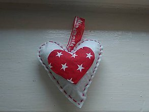 Dekorácie - Srdiečko bielo-červené  (10cmX10cm - Biela) - 8933223_