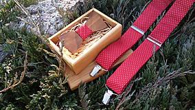 - Pánsky set- drevený motýlik a traky - 8930847_