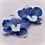 Náušnice - Modrá orchidea - visiace náušnice - 8932010_