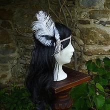 Ozdoby do vlasov - Čelenka s pštrosím perom - 8934183_