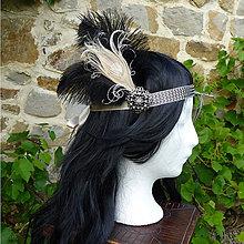 Ozdoby do vlasov - Čelenka s pštrosími a pávím perom - 8934253_
