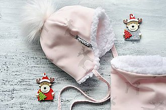 Detské súpravy - Zimný set s menom Reindeer soft pink & fleece snow - 8934423_