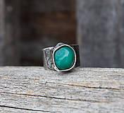 Prstene - Zelený achát - prsteň - 8933292_