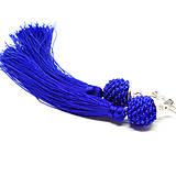 TASSEL Trio - dlhé náušnice so strapcom, modré (kráľovská modrá - dlhé náušnice so strapcom)