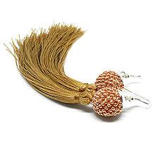 Náušnice - TASSEL Rose Gold - dlhé náušnice so strapcom - 8933444_