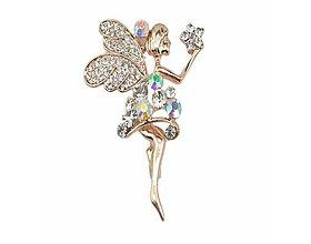 Galantéria - Luxusná štasová brošnička anjelik - 8930778_