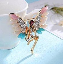Galantéria - Luxusná štrasová brošnička anjelik - 8930779_
