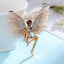 Galantéria - Luxusná štrasová brošnička anjelik - 8930780_