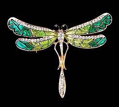 Galantéria - Štrasová brošnička vážka - 8930782_