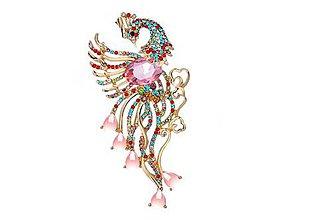 Galantéria - Luxusná veľká štrasová brošnička vták fénix - 8930783_