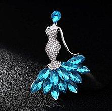 Galantéria - Luxusná veľká štrasová brošnička dáma - 8930784_