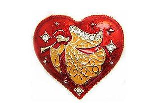 Galantéria - Brošnička anjelik v srdiečku so štrasovými kamienkami - 8930786_