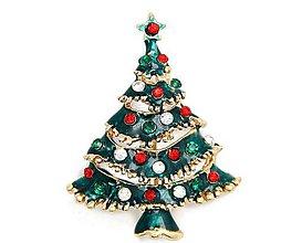 Galantéria - Štrasová brošnička vianočný stromček - 8930787_