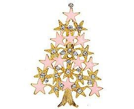 Galantéria - Štrasová brošnička vianočný stromček - 8930791_