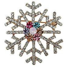Galantéria - Luxusná štrasová brošnička snehová vločka - 8930794_