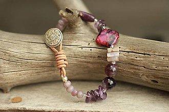 Náramky - Boho náramok z minerálov ametyst, lepidolit, jaspis - 8931241_