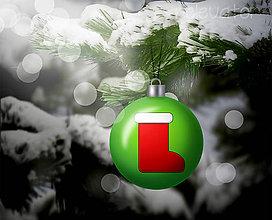 Grafika - Vianočná guľa (grafický obrázok) - ponožka/čižmička - 8933159_