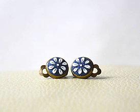 Náušnice - Folklórky mini klipsne - modré - 8938677_