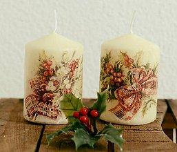Svietidlá a sviečky - Vianočné sviečky s cezmínou - 8936238_