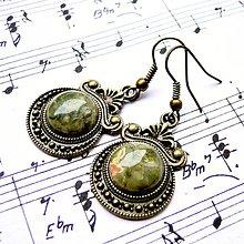 Náušnice - Ornaments & Gemstone Earrings / Bronzové náušnice s ornamentmi /0435 (Leopard Jasper / Leopardí jaspis) - 8934959_