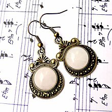Náušnice - Ornaments & Gemstone Earrings / Bronzové náušnice s ornamentmi (Rose Quartz / Ruženín) - 8937513_