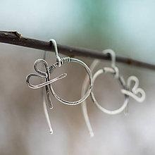 Náušnice - Tepané srdiečkoidky (Ag925) - 8935684_