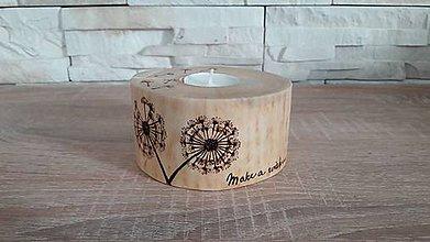 Svietidlá a sviečky - Drevený svietnik púpava - 8938331_