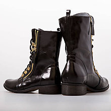 4f4ef20c0b Obuv - Čierne topánkami so zlatým zipsom na boku - 8935744