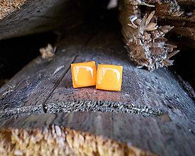 Náušnice - Štvorčeky 10 mm (oranžové) - 8938902_