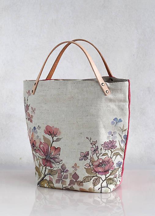 5600d23ec Ručne maľovaná kvetinová taška z ľanu