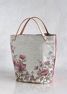 Kabelky - Ručne maľovaná kvetinová taška z ľanu