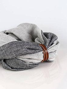 Doplnky - Pánsky štýlový obojstranný šedý ľanový nákrčník - 8936695_