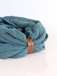 Doplnky - Jemný a hrejivý zeleno-modrý nákrčník z ľanu - 8936732_