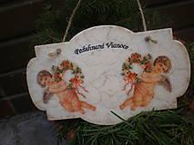 Dekorácie - Vianočná dekorácia - Anjeli s venčekmi - 8936067_