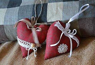 Dekorácie - Červené srdcia - sada - 8937303_
