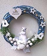 Dekorácie - Vianočný venček -veverička - 8936197_