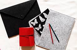 Obal na notebook/Listová kabelka Antracit alebo Silver Grey s brošňou