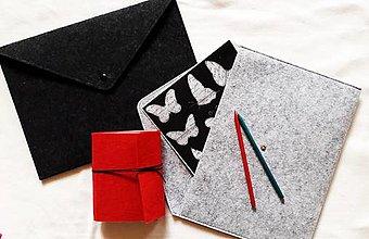 Kabelky - Obal na notebook/Listová kabelka Antracit alebo Silver Grey s brošňou - 8938696_