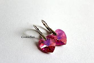 Náušnice - Náušnice Swarovski Heart Rose AB - 8935082_