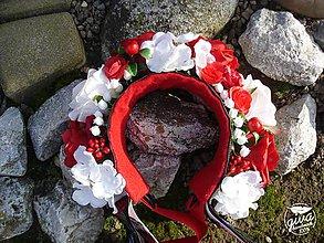 Ozdoby do vlasov - Svadobná parta - červená & biela - 8938316_