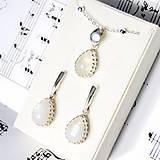 Sady šperkov - Moonstone Teardrop Set AG925 / Strieborné náušnice a prívesok s mesačným kameňom /0432 - 8939144_