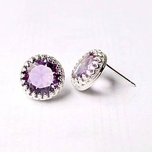 Náušnice - Classic Rose Cut Amethyst Earrings & Silver Ag 925 / Strieborné náušnice s brúseným ametystom - 8940448_
