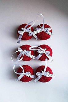 Dekorácie - Vianočné ozdoby | Gule na zavesenie | veľké | Bordová | mašlička | biela s čiernymi bodkami | sada 6ks - 8942605_