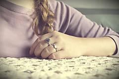 Prstene - Strieborný ligotavý prsteň s ruženínom - Bokeh Rose - 8939911_