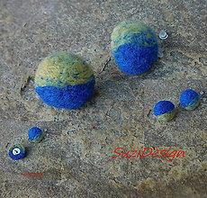 Náušnice - plstené retro napichovačky dúhovky - 8939153_