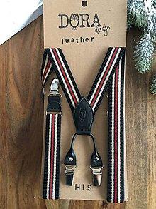 """Iné doplnky - Páskované traky """"more leather"""" s čiernou kožou - 8942354_"""
