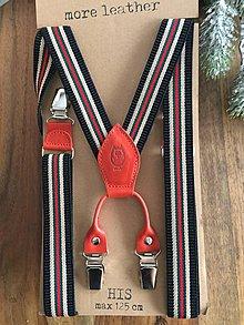 """Iné doplnky - Páskované traky """"more leather"""" s červenou kožou - 8942470_"""