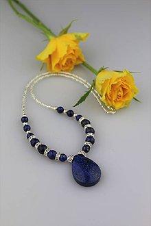 Náhrdelníky - Lapis lazuli a striebro náhrdelník - 8942678_